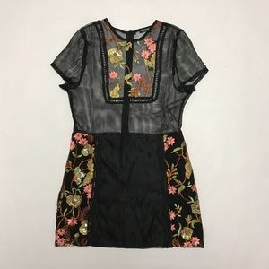 Nasty Gal mesh embroidered dress Size 10